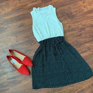 Loft White & Black Polka Dot Belted Dress 4P